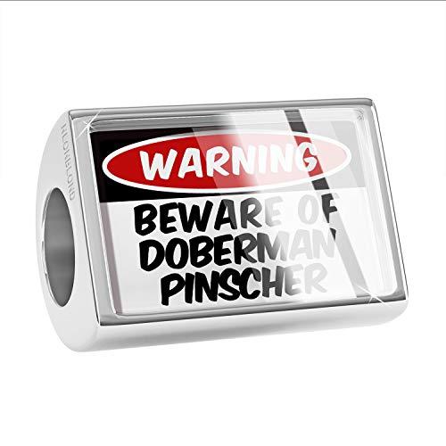 NEONBLOND Charm Beware of The Doberman Pinscher Dog from Germany Bead (Doberman Pinscher Dog Charm)