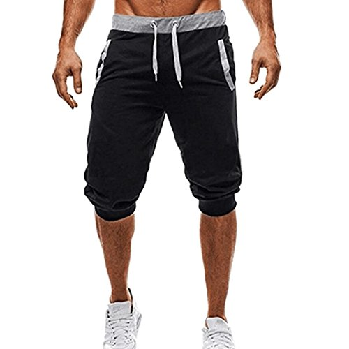 GREFER Men Sport Fitness Jogging Elastic Stretchy Bodybuilding Bermuda Sweatpants (Pinstripe Suit And Black White)