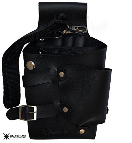 Barber or Salon Hair Scissor Holster Hairdressing Bag Pouch Holder with Waist Shoulder Belt PU Leather