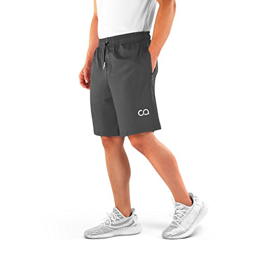 Contour Athletics Men's Running Shorts (Roman) Bodybuilding Workout Men's Gym Shorts Quick-Dry with Zipper Pockets (CA3001-LG) Gray