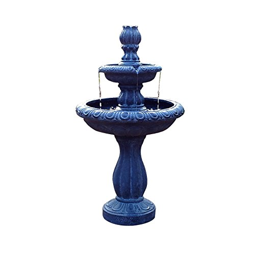 ASC Solar Water 2-tier Tulip Fountain with Battery/Timer and LED Light (3 Watt Solar Pump Kit) by All Solar Central