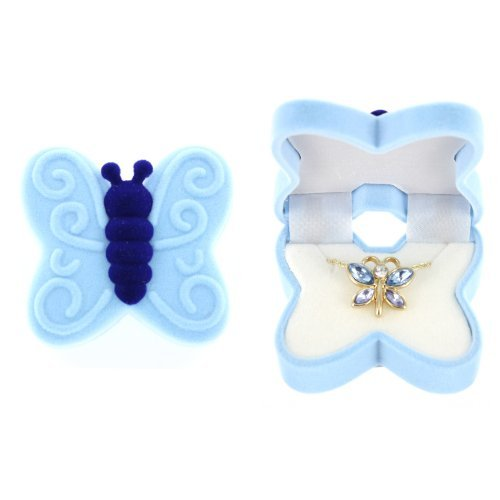 BUTTERFLY Necklace Charm Pendant w/ Crystal Wings in Butterfly Velour Gift Box (Velour Gift)
