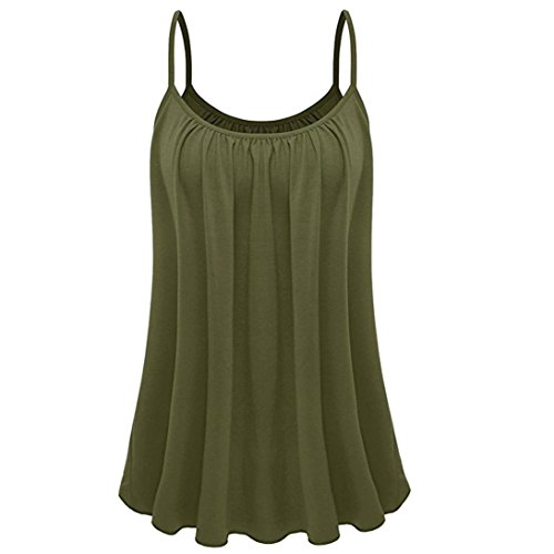 (vermers Clearance Womens Plus Size Camisole Summer Loose Sleeveless Solid Camis Tank Tops(3XL, Army Green))