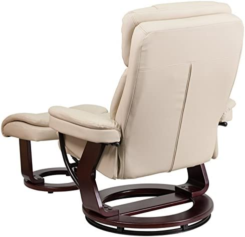Emma Oliver Multi-Position Recliner Curved Ottoman with Swivel Wood Base in Beige Leather
