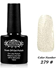 Perfect Summer UV LED Soak Off Gel Nail Polish 10ml Nail Lacquer, Shiny Holographic Color #279 Hologram Clear White