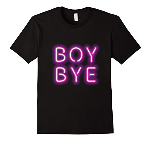 Neon Velvet - Mens Boy Bye Neon Letters Sign Millenial Pink Graphic Tee T Shirt 2XL Black