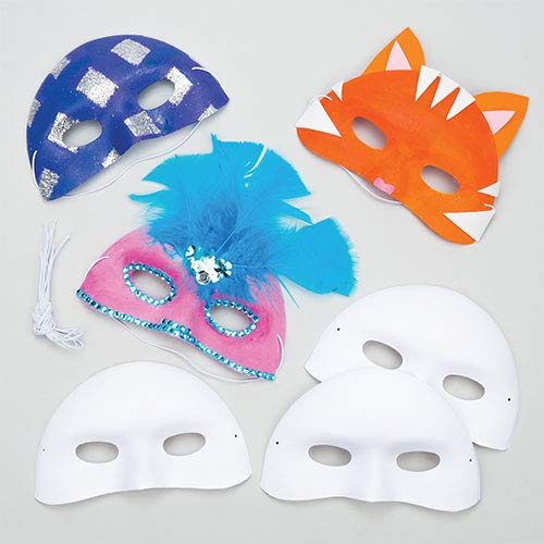 Baker Ross Flocked Plastic Eye Masks for Children to Paint & Decorate and use for Dress Up (Pack of 8) - Carnival / Mardi Gras Party Accessory EV1246