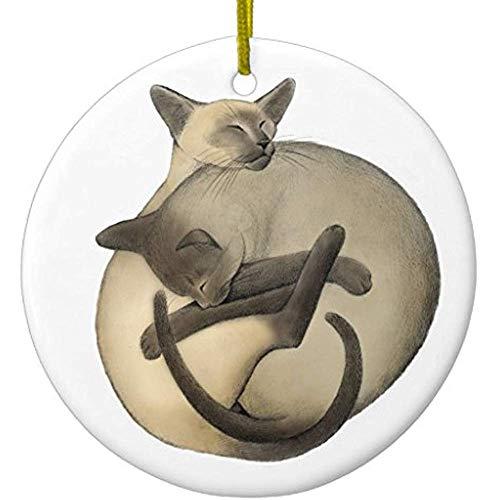 Cheyan Sleeping Ball of Siamese Cats Ornament - Ornament Cat Siamese