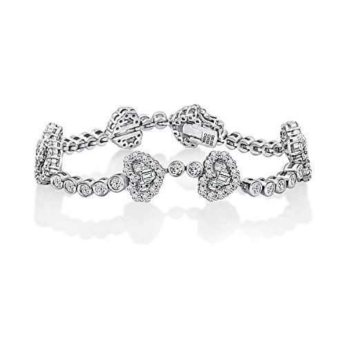 (DIAMONBLISS Sterling Silver Cubic Zirconia Baguette &Round Heart Bracelet- -7
