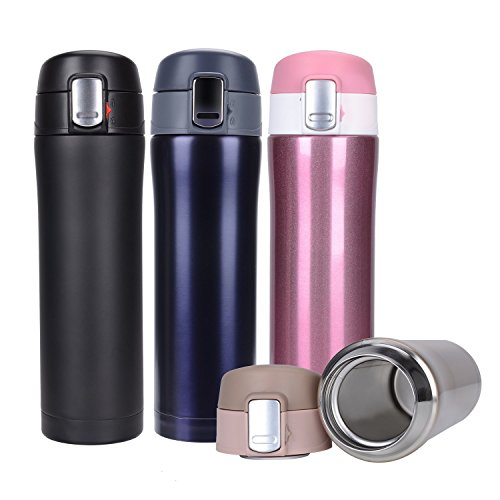 Hiwill Double Walled Vacuum Insulated Travel Coffee Mug, Stainless Steel Flask, Sports Water Bottle, (450 ML, 16 OZ Dark Purple)
