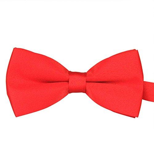 FEITONG High End Men's Plain Bowtie Polyester Pre Tied Wedding Tuxedo Bow Tie Necktie Accessory (Red)