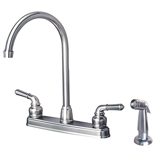 Laguna Brass 1201SPSS RV Mobile Home Non-Metallic High Arc Swivel Kitchen Sink Faucet with Side Spray Brushed Nickel Finish by Laguna Brass