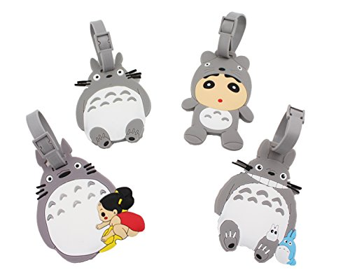 Finex Set of 4 Totoro Travel Luggage ID Tag for Bags Suitcases