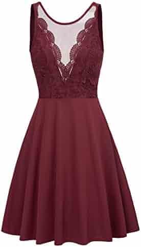 77bdb3c9d01 GRACE KARIN Women Sleeveless Lace Patchwork Open Back A Line Flare Party  Dress