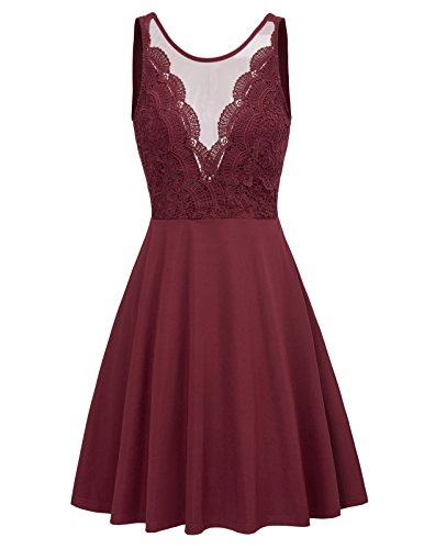 (Women's Knee Length Flowy Ball Prom Lace Patchwork Dress M Wine Red (Backless-Low))