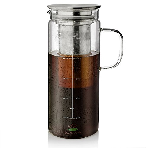 - BTäT- Cold Brew Coffee Maker, 1.5 Quart,48 oz Iced Coffee Maker, Iced Tea Maker, Airtight Cold Brew Pitcher, Coffee Accessories, Cold Brew System, Cold Tea Brewing, Coffee Gift, Tea Maker with Infuser
