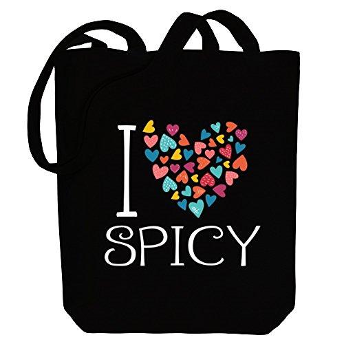 Idakoos I love spicy colorful hearts - Adjektive - Bereich für Taschen