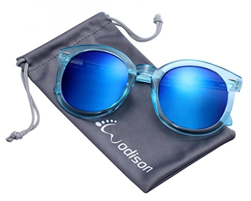 WODISON Womens UV400 Protected Classic Mirrored Lens Clear Frame Sunglasses Blue Lens