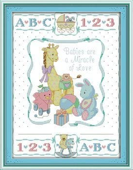 Birth certificate ,11CT Counted 40cm/×52 or 15.6/×20.28 2 Joy Sunday Cross Stitch kits