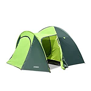 Enkeeo 4 Person Tent Famliy Camping Ultralight Compact Backpacking Tents with Frame Pole, Tent Stakes, Carry Bag for Outdoor Hiking Park Beach (Green/Grey)