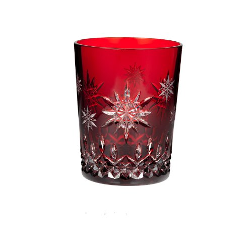 Christmas Tablescape Décor - Waterford Lismore Cut Crystal Snowflake Ruby Red Wishes for Joy Holiday Double Old Fashioned Glass