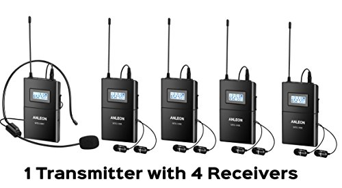 1 Transmitter 4 Receivers (Anleon Mtg-100 Wireless Tour Guide System Teaching Train Visit Tourism Church 650-680mhz (1 Transmitter and 4 Receivers))