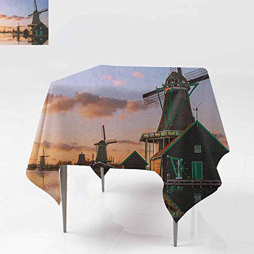 AndyTours Fashions Table Cloth,Windmill,Traditional Village with Canal Waterfront