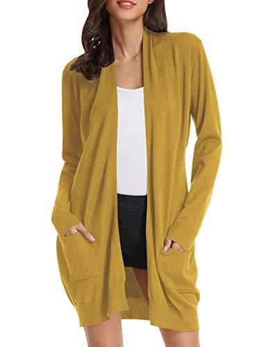 Womens Light Weight Long Sleeve Open Front Long Cardigan (M,Mustard)