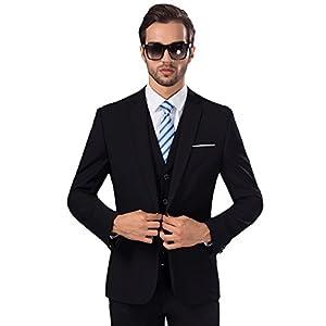 MY'S Men's Suit Slim Fit One Button 3-Piece Suit Blazer Dress Business Wedding Party Jacket Vest & Pants