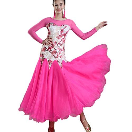 Manicotto performance Sala Costume Calzamaglia Moderno tulle Donne Competizione Ballo S Vestito Rete Rose Da Dancewear Ballo Valzer Per A Stampa xxl Wqwlf fqATw86df