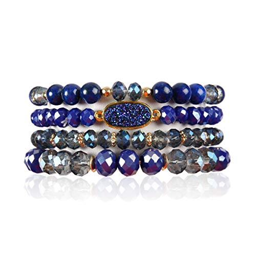 RIAH FASHION Bead Multi Layer Versatile Statement Bracelets - Stackable Beaded Strand Stretch Bangles Sparkly Crystal, Faux Druzy, Pave Fireball (Oval Acrylic Druzy - Sapphire)