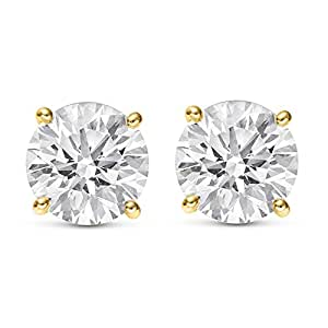 2 Carat Total Weight White Round Diamond Solitaire Stud Earrings Pair set in 14K Yellow Gold 4 Prong Push Back (H-I Color I2 Clarity)