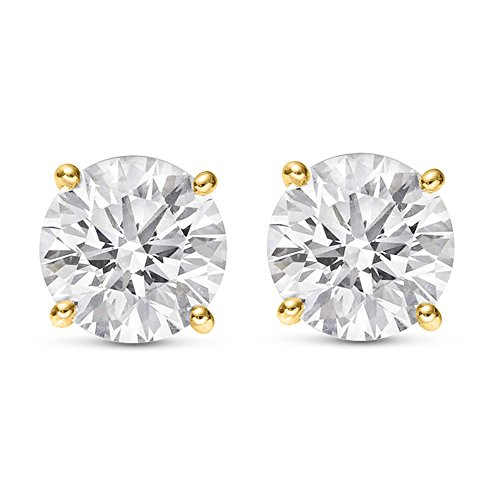 1 Carat Total Weight White Round Diamond Solitaire Stud Earrings Pair set in 14K Yellow Gold 4 Prong Push Back (H-I Color I2 Clarity) 14k Yg Diamond Earrings