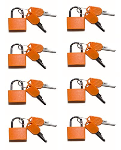 Padlocks Travel Lock(8 per Pack) Brass Mini Lock,Travel accessories,Children's Gift,Supplies for Classroom-Individually Keyed Padlock (Classroom Lock Brass)