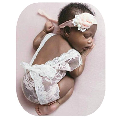 Price comparison product image Fashion Cute Newborn Baby Girl Deep-Vee Back Photography Props Vest Outfit with Lace Ribbon (White)