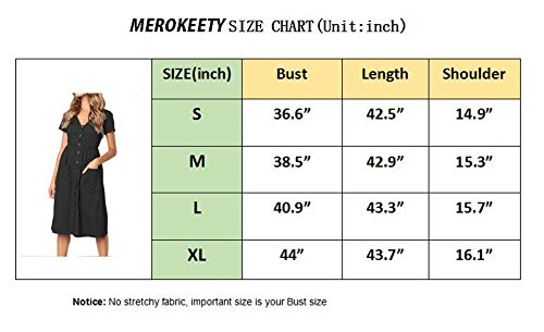 Dress MEROKEETY Summer Sleeve Pockets with Swing Midi V Button Women's Neck Sage Short Down qvpq1wa