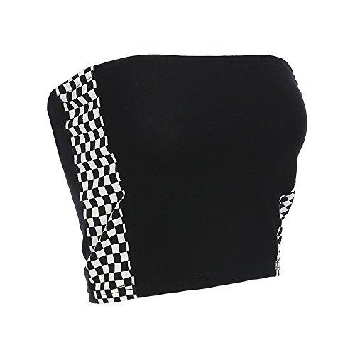 Azigongyey Women Checkerboard Black and White Plaid Tube Tops Strapless Wrap Top