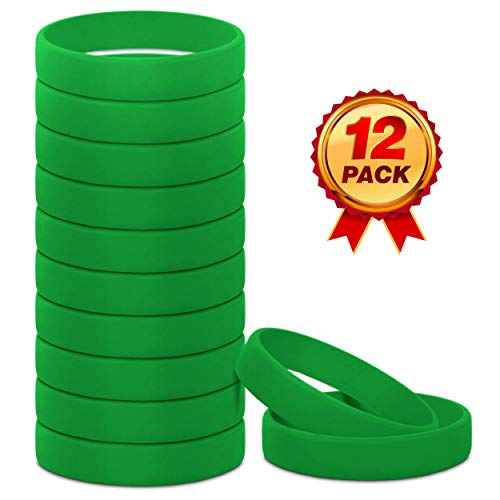 Go Party USA Green Wristbands | Green Rubber Bracelets | Rubber Bracelets Green | Silicone Bracelets Green | Green Bracelets | Green Rubber Bands (Adult) (Wristbands Silicone Thick)