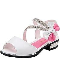 PPXID Girl's Peep Toe Bowknot Sandbeach Princess Sandals