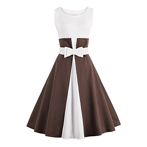CharMma Swing Coffee Women's 1950 Hepburn Sleeveless Party Rockabilly Tea Audrey Dress rnrpPqWwO