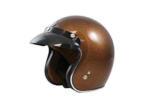TORC (T50 Route 66) 3/4 Helmet with Super Flake Speciality Paint (Root Beer Brown, Small)