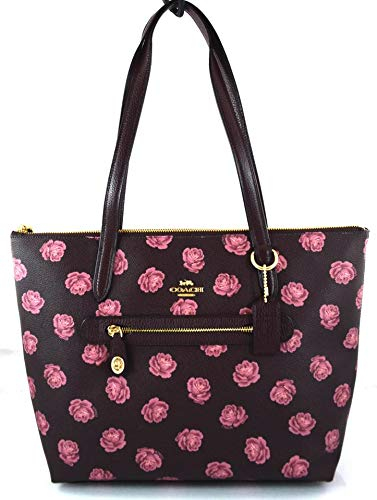 COACH Women's Taylor Tote in Floral Printed Leather Gold/Oxblood One Size