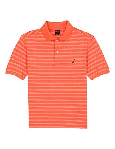 Nautica Boys' Big Short Sleeve Striped Performance Polo Shirt, Shore Orange, Large (14/16)