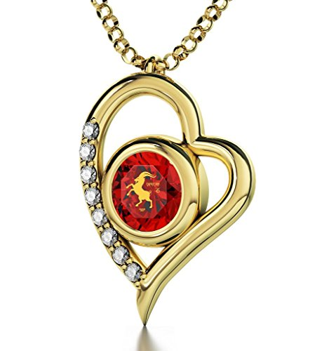 Gold Plated Zodiac Heart Pendant Capricorn Necklace 24k Gold inscribed on Red Crystal, 18'' by Nano Jewelry