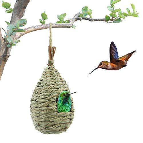 Kimdio Bird House,Winter Bird House for Outside Hanging,Grass Handwoven Bird Nest,Hummingbird House,Natural Bird Hut Outdoor,Birdhouse for Kids,Songbirds House - House Large Hanging