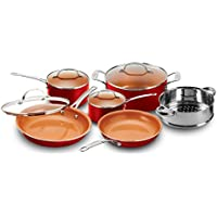 Gotham Steel 10-Piece Nonstick Frying Pan And Cookware Set (Red/Black)