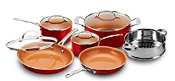 Gotham Steel 1458 10 Piece Kitchen Nonstick Frying Pan and Cookware Set in Red, Brown