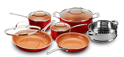 Gotham Steel 10-Piece Nonstick Frying Pan and Cookware Set, Red
