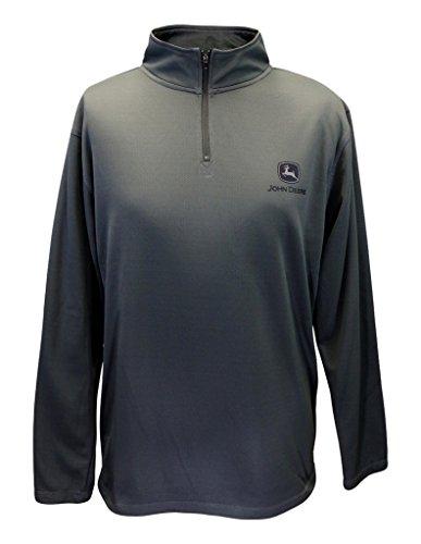 John Deere Mens Pullover Fleece Charcoal Quarter Zip