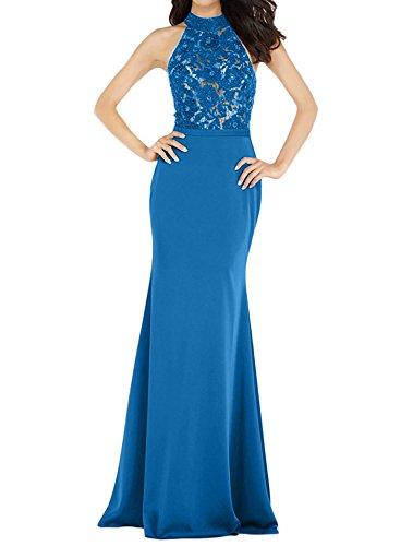 Partykleider Meerjungfrau Lang Abendkleider Elegant Blau Ballkleider mia La Spitze Festlichkleider Figurbetont mit Braut qFUYxH